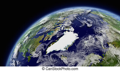 Arctic viewed from space with atmosphere and clouds....