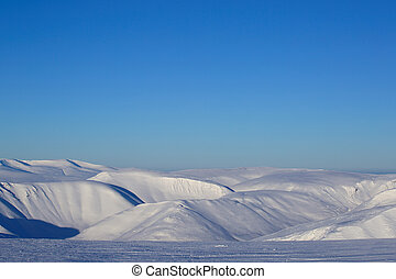 Arctic winter landscape with mountains