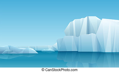 Arctic winter panorama landscape with iceberg and ice mountains. Cold climate winter vector background.