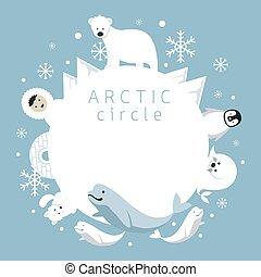 arctique, animaux, gens, cercle, cadre