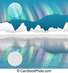 arctique, paysage, vecteur, aurore, poteau