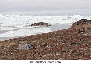 arctisch, groenland, ijsbergen, landscape
