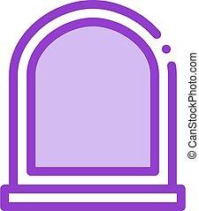 arcuate window icon vector outline illustration