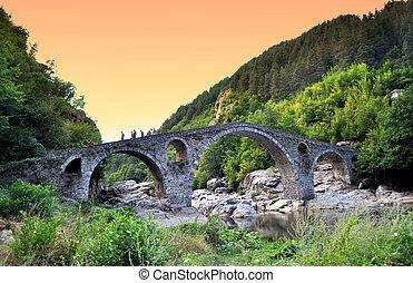 arda, brug, op, devil's, rivier, bulgarije