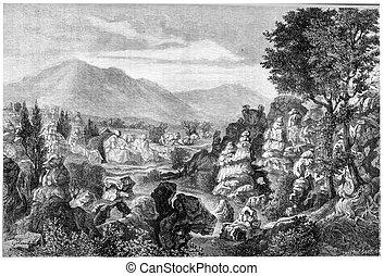 Ardeche river limestone rock formations, Ardeche region,...
