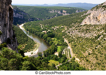 ardeche, south-central, france, rivière, pagayer