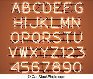 ardendo, arancia, neon, alphabet.