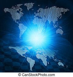 ardendo, figure, e, mondo, map., ciao-tecnologia, fondo