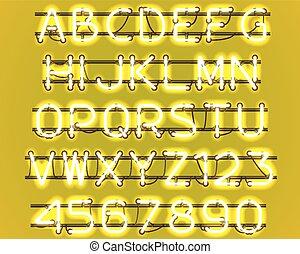 ardendo, giallo, neon, alphabet.