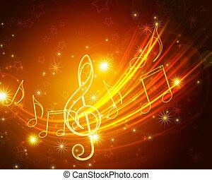 ardendo, musicale, simboli, con, stelle