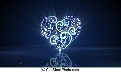 ardendo, neon, forma cuore, loopable, animazione