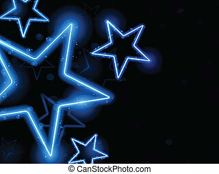ardendo, neon, stelle, fondo
