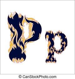 ardent, arrière-plan bleu, p, police, lettre, blanc