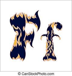 ardent, arrière-plan bleu, police, f, lettre, blanc