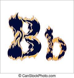 ardent, arrière-plan bleu, police, lettre b, blanc