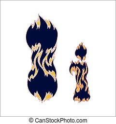 ardent, arrière-plan bleu, police, lettre, blanc