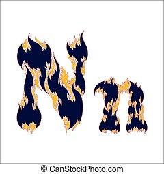 ardent, arrière-plan bleu, police, lettre n, blanc