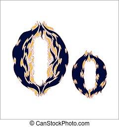 ardent, arrière-plan bleu, police, lettre, o, blanc