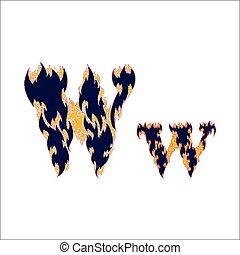 ardent, arrière-plan bleu, police, lettre, w, blanc