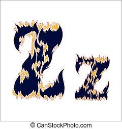 ardent, arrière-plan bleu, police, lettre, z, blanc