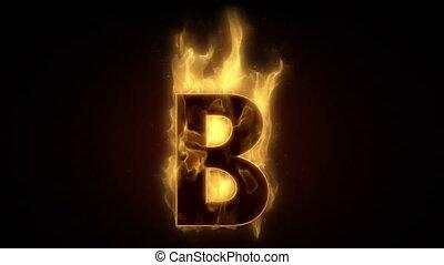 ardent, boucle, brûlé, lettre b