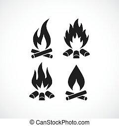ardent, brûler, flamme, vecteur, icône