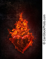 Ardent Heart in flame on grunge background