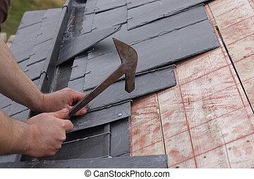 ardesie, fatto, roofer, tetto