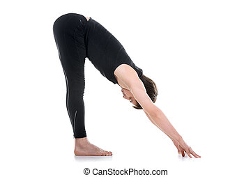 wide legged forward bend sporty young man working out