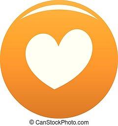 ardiente, corazón, icono, vector, naranja