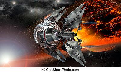 ardiente, paso, nave espacial, planeta