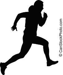 arduo, maschio corre, atleta