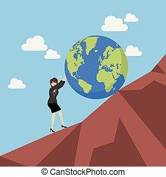 arduo, mondo, donna, spinta, affari