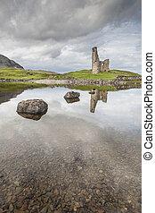 Ardvreck Castle on Loch Assynt in Scotland.