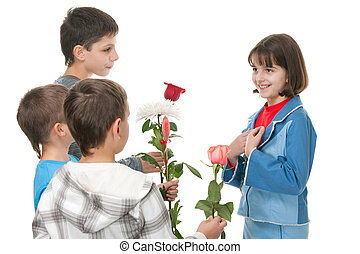 Are these flowers really for me? - Three boys are presenting...