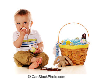 Are These for Eating? - An adorable baby boy attempting at...