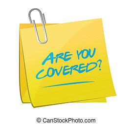 are you covered memo post illustration design over a white...
