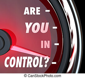 Are You In Control Words Speedometer Leader Organization -...