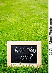 Are You OK - Blackboard on grass