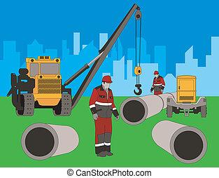 area., construção, novo