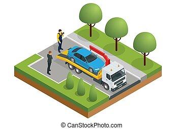 area., csereüzlet, szükséghelyzet, büntetés, hibázik, szállítás, feláll, csereüzlet, isometric, autó, országúti, kóc, segítség, cars., csipeget