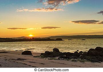 Area da Secada beach at sunset