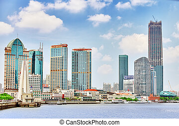 area-, egn,  Bund, Distrikt, byen,  24,  Shanghai, Dynamik,  Pudong,  Shanghai, firma, Mest,  Skyline,  shanghai-may, Udsigter, Søside, Nye, kina,  2015