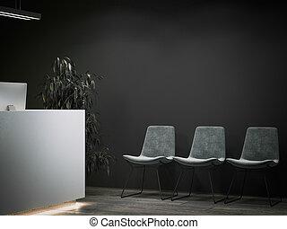 area., hivatal, sötét, vakolás, várakozás, fogadás, 3
