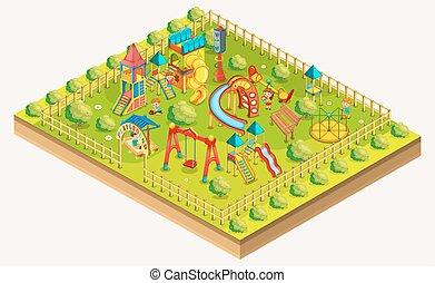 area., isometric., illustration, vecteur, cour de récréation, relaxation, enfants