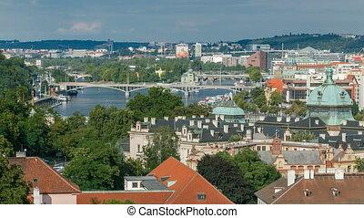 Area Lesser Town of Prague Mala Strana timelapse, near the church Saint Vitus, Ventseslaus and Adalbert. Czech Republic.