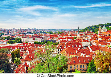Area Lesser Town of Prague, near the church Saint Vitus, Ventseslaus and Adalbert. Czech Republic.