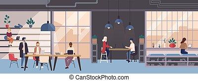 area., leute, modern, weibliche , lächeln, rgeöffnete, style., arbeitende , raum, arbeiter, junger, freiberuflich, geteilt, wohnung, bunte, sitzen, abbildung, laptops, co-working, workplace., computer, vektor, mann, oder