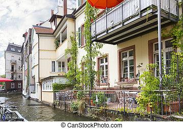 "Area ""Little Venice"" in Freiburg. Germany. Europe"