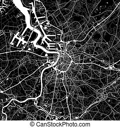 Area map of Antwerp, Belgium. Dark background version for ...